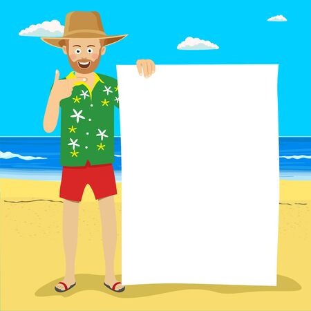 Young cute man in palm straw hat with blank board on tropical beach