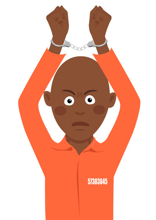 Young african american prisoner with handcuffs over his head
