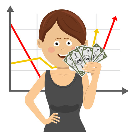 Businesswoman with a fan of money over positive graph