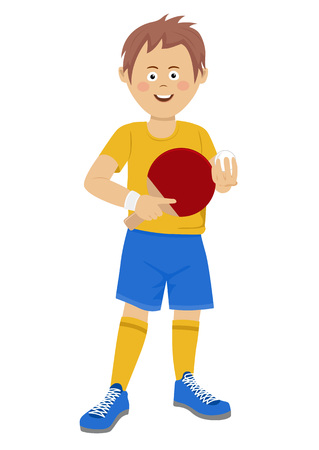 Happy teenager boy with table tennis racket and ball wearing sports wear on white Illustration
