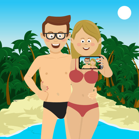 Happy young couple taking selfie picture at the tropical beach