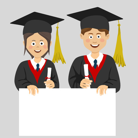 Graduated teenager boy and girl with an empty blank board isolated