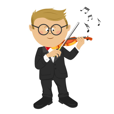 Little nerd boy with glasses playing violin on white