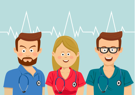 Medical team with stethoscopes wearing colorful scrubs standing over heartbeat 일러스트
