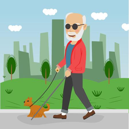 Senior blind man with guide dog walking outdoor in city park. Illustration