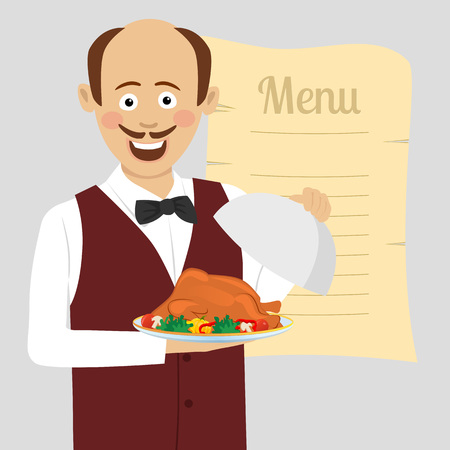 Cute waiter with tray serving roasted poultry stands over blank menu.