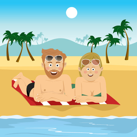 Happy couple lying on a towel at the tropical beach Illustration