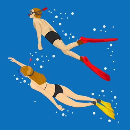 Young couple swimming together in tropical sea - Snorkeling tour in exotic scenarios Illustration