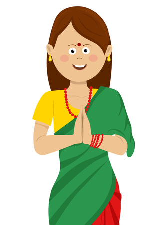Indian woman wearing traditional beautiful saree holding her hands together