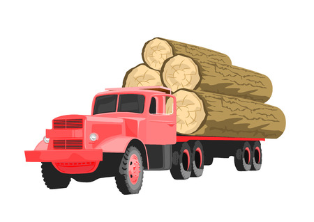 Heavy loaded red logging truck isolated on white background