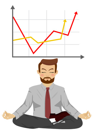 Happy businessman meditates in lotus pose over graph with positive stats. Concept of successful growth for business.