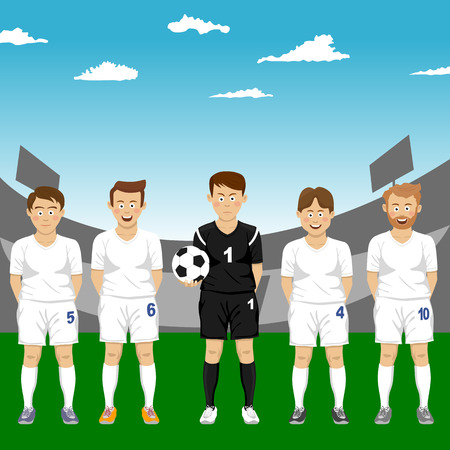 Soccer players team group standing with ball in stadium