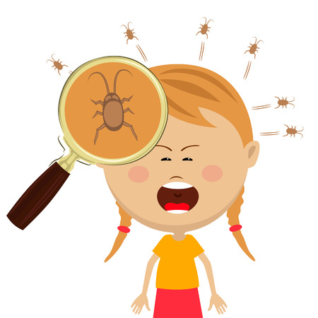 Magnifying glass shows lice in the head of cryng little girl