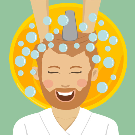 Young bearded man in barbers getting washed his hair with shampoo Illustration