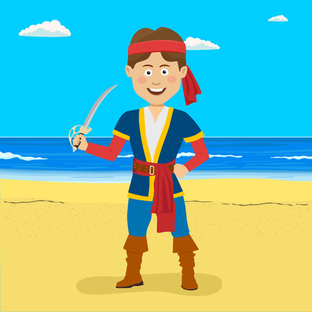 Pirate boy with sword standing at the tropical beach.