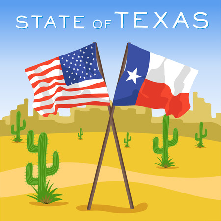 American and Texas flags in desert
