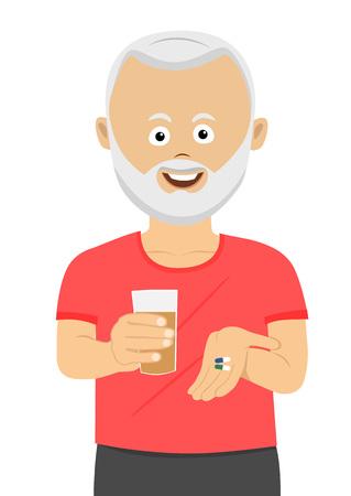 Senior man taking his pills holding glass of water