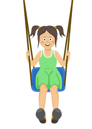 Beautiful teenager girl riding a swing outdoors isolated over white background 矢量图像
