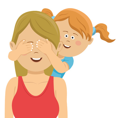 Cute daughter covering mothers eyes with her hands
