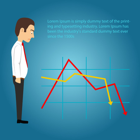 Sad businessman looking at falling chart on the blue background. Business concept.