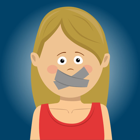 Scared young woman with tape over her mouth.