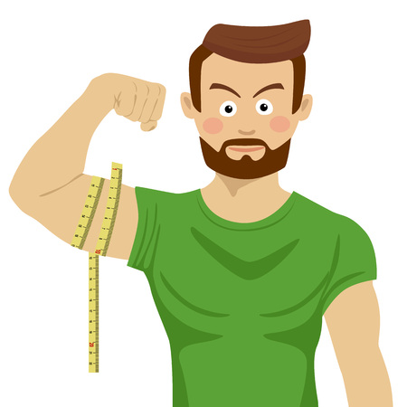 Attractive serious fit man flexing his bicep and measuring it with tape-line Ilustrace