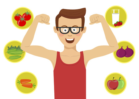 Young nerd man with glasses showing his muscles against healthy food