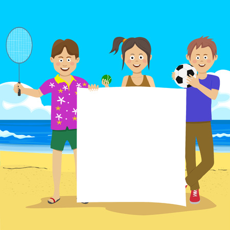 Teenager boys and girl standing with sports equipment holding a blank board at the beach