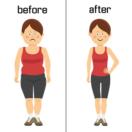 Corps de la femme avant et après la perte de poids