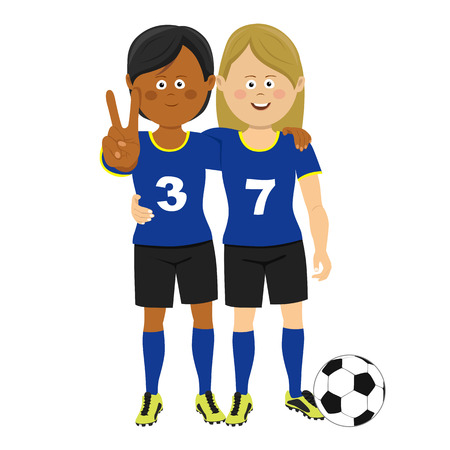 Full length portrait of two female soccer players hugging showing victory sign posing with ball Vectores