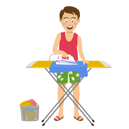 Young happy man ironing his clothes on ironing board at home on white