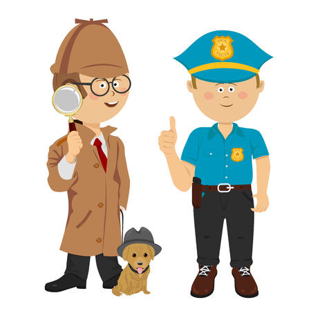 Cute little boys wearing detective and policeman costumes poses with puppy on white