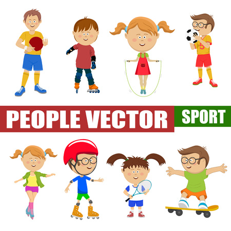 Cute little children playing different sports, soccer, tennis, cycling, roller skating, skateboarding on white Vectores