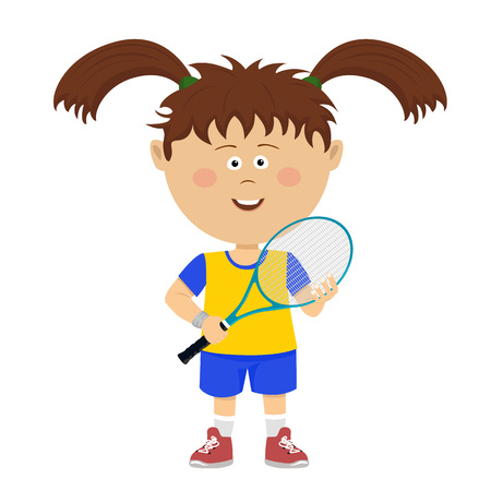 Cute little girl with big pigtails poses with badminton rocket on white Vectores