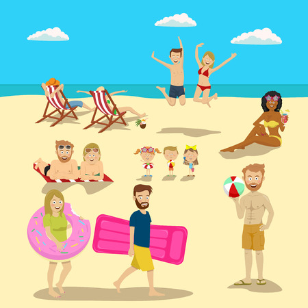 People and couples on vacation beach big set. Summer travel holidays and beach active sport activities