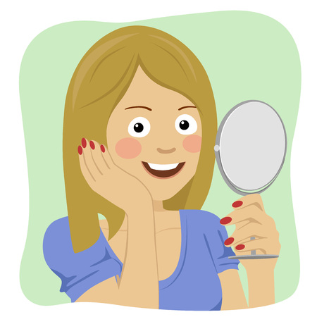 Face of young beautiful healthy woman looking in the mirror Illustration
