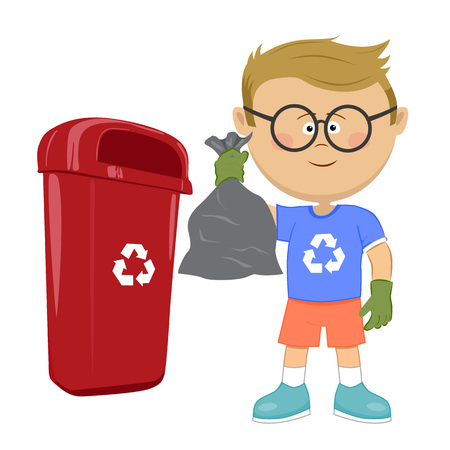 Little boy holding stinky trash bag and throwing it on recycle bin Vectores