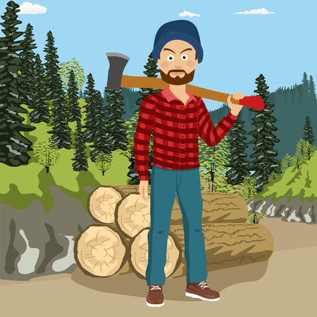 Confident young bearded lumberjack man holding big axe on shoulder in forest