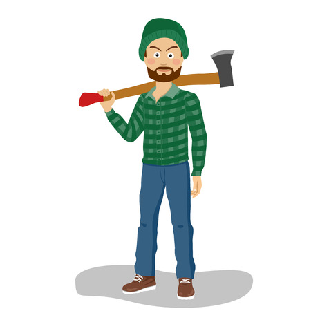 Bearded lumberjack in hat holding a big axe on his shoulder Vectores