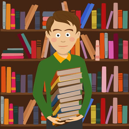 Student boy holds stack of books standing against bookshelf in library Ilustração