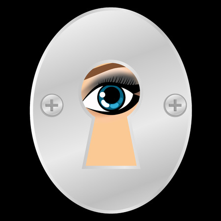 Female eye looking through metallic keyhole