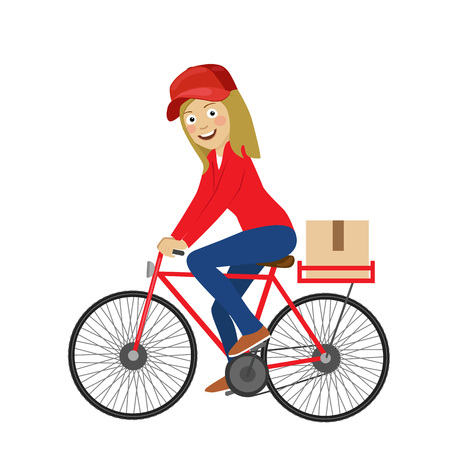 Delivery service young girl riding bicycle over white background