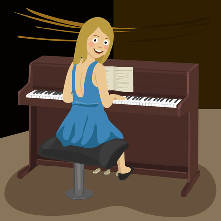 Rear view of young woman playing the piano looking over her shoulder in concert hall