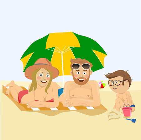 Happy family lying on the tropical beach under colorful umbrella Foto de archivo