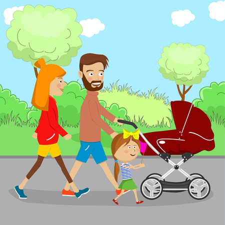 Happy family walking with a stroller and their daughter in the city park in the summer Foto de archivo