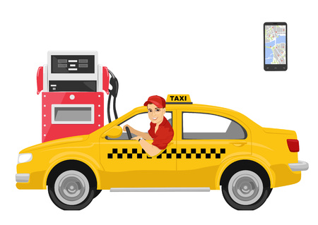 Happy taxi driver sitting in his car next to gas station over white background Foto de archivo