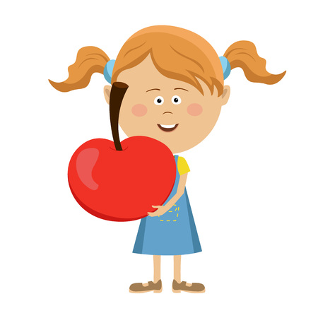 Cute little girl holding a big red apple over white background