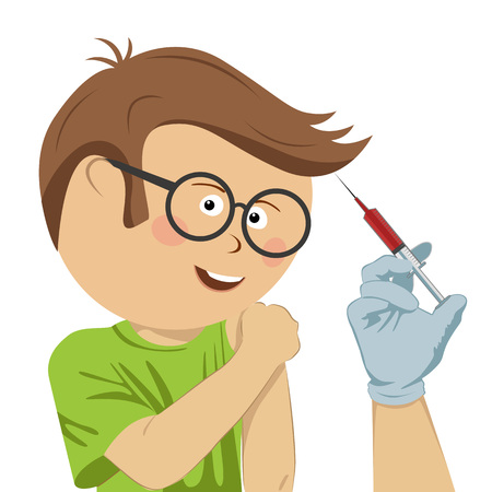 Happy little nerd boy with glasses being injected over a white background