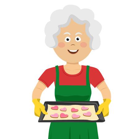 Señora madura sosteniendo una bandeja con galletas caseras aislado sobre un fondo blanco. Ilustración de vector