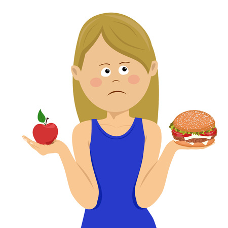 Young unhappy woman chooses between junk food and healthy diet over white background Vectores